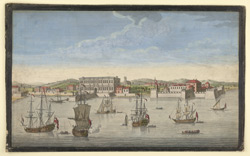 'Bombay on the Malabar Coast belonging to the East India Compnay of England'.  Engraving by Jan Van Ryne, published Robert Sayer, London, 1754.  Letterpress trimmed and on reverse.